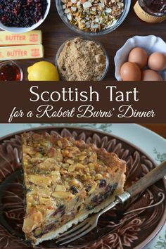 A delicious dried fruit and nut flan in a slightly gooey, whisky laced filling. Welsh Recipes, Scottish Recipes, Cuban Recipes, Turkish Recipes, Romanian Recipes, German Recipes, Scottish Desserts, Scottish Dishes, Burns Night Recipes