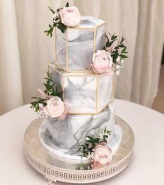 on cakesgalleria 3 Tier Hexagon Marble Cake with well crafted geometry design prettified with captivating rose flowers Credit Wedding Cake Stands, Elegant Wedding Cakes, Elegant Cakes, Beautiful Wedding Cakes, Wedding Cake Designs, Beautiful Cakes, Unique Weddings, Cake Wedding, Hexagon Wedding Cake