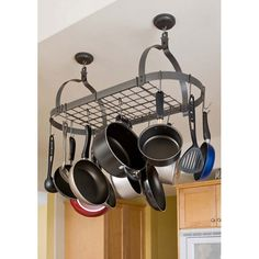 Kitchen Pot Rack with Grid - Oval, Ceiling Mount - Rack It Up by Enclume