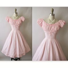 Entirely too cute - a 1950s pink gingham sundress with piping and bows.