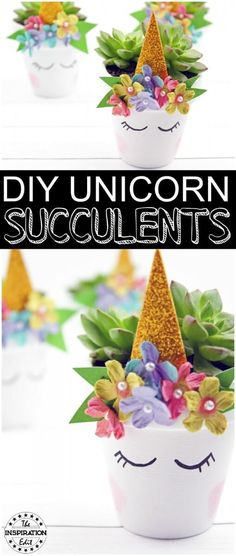 DIY Unicorn Succulents For The Home · The Inspiration Edit - An Easy Tutorial #Unicorns #Plantpots #Crafts #UnicornCraft #Succulents #Frugalliving #EasyDIY #DIY #Plants #Craftideas