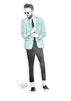 Cool Mint Spring Look Dress Illustration, Fashion Illustration Sketches, Fashion Sketchbook, Fashion Design Sketches, Boys Formal Wear, Casual Wear For Men, Suit Fashion, Male Fashion, Fasion