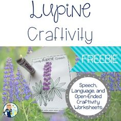 This set of FREEBIE Lupine Craftivity worksheets were created to use as reinforcement when working  on articulation drill activities (pg. 5), following language targets (pg. 6), or as a stand alone craft/art worksheet (pg. 7). The product was created to accompany the book, Miss Rumphius by Barbara Cooney.