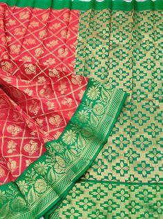 Red Colour Zari motif Cotton silk saree with Contrast Green zari pallu & Blouse