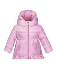 Odile Hooded Down Puffer Jacket, Pink, Size 12M-3 by Moncler at Neiman Marcus.