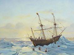 Het schip van Willem Barentsz vast in het ijs bij Nova Zembla White Sea, Nautical Art, Ship Art, Tall Ships, Utrecht, Arctic, Sailing Ships, Mermaid, Museum