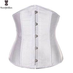 009494f1a04 Underbust Corset Top 6XL Plus Size Sexy Women Outwear Simple Elegant Satin  Bustier White Black Blue Gothic Waist Corselet 2833