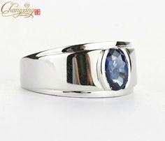 anillos para hombre(zafiro y oro blanco)