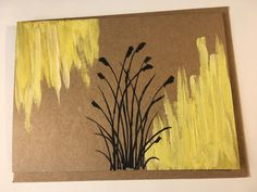 Wild Grass Hand-painted Blank Card | Etsy Grass Silhouette, Wild Grass, Beach Cards, Paint Cards, Evergreen Trees, Winter Trees, Sympathy Cards, I Card, Pink Flowers