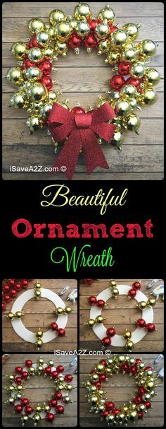 Christmas DIY: How to Make an Ornam How to Make an Ornament Wreath for Christmas - beautiful project that doesn't cost a lot to make! #christmasdiy #christmas #diy