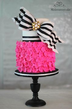 Pink Blossoms with Black & White Striped Bow Celebration Cake