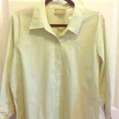 🌿Light Green Dress Shirt Blouse🌿🎉SALE🎉 Light green button down blouse with 3/4 sleeves with cuffs. 100% Cotton. Size XL. Liz Claiborne Lizwear. Maybe Worn twice - in perfect condition. Liz Claiborne Tops Button Down Shirts