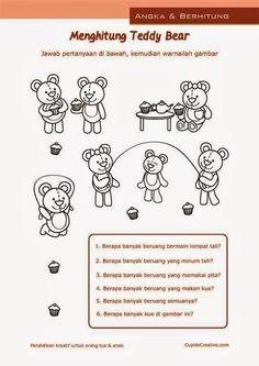 belajar anak balita/TK, hitung angka 1-10, boneka beruang teddy Worksheets, Dan