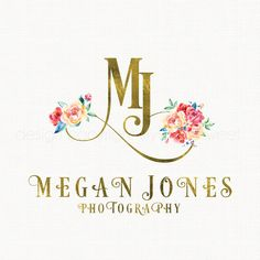 watercolor flower logo gold foil Initials by stylemesweetdesign