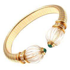 BOUCHERON Two-Tone Gold Diamond, Emerald, Rock Crystal Bracelet