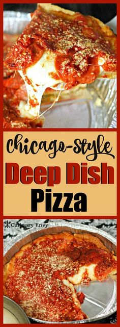 Pizza recipes | Chicago Deep Dish Pizza is the perfect comfort meal with its flaky, buttery crust, oozing mozzarella and zesty Italian pepperoni. 2 options to choose from. You'll love it!  Click to read more!