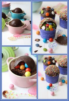 Pinata Cupcakes.  Make chocolate dome, creator recommends silicon mold to create glossy surface.   This is not important if you are going to cover with sprinkles. Hide treats inside or can fill with mousse, custard or fruit.  The site is in Spanish.