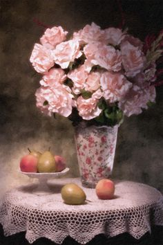Flowers With Fruit Still Life by Tom Mc Nemar with Pin-It-Button on FineArtAmerica
