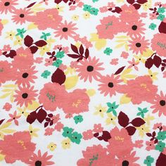 Peach Burgundy Floral Cotton Jersey Knit Fabric :: $5.00