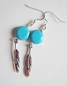 Tribal Turquoise and feather earrings by BulletsBeadsBaubles