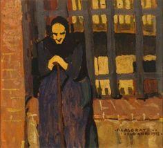 Felice Casorati - Donna anziana (The old woman), 1918. Oil on cardboard, 27.5 x 30 cm. Fondazione Guido ed Ettore De Fornaris - Galleria Civica di Arte Moderna di Torino, Italy