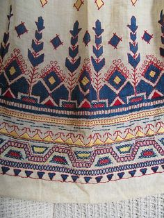 Silk Batiste with fine wool embroidery Cond:VG. Tambour Embroidery, Wool Embroidery, Embroidery Designs, Textile Prints, Textile Design, Textiles, Contemporary Decorative Art, Embroidered Apron, Ethnic Patterns