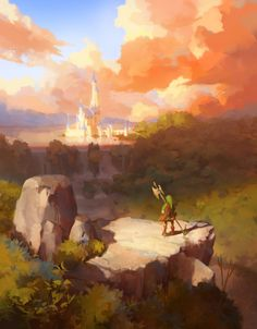 "Came across this amazing Legend of Zelda fanart and wanted to share it - BotW ""Sunset"" created by (hope they don't mind! The Legend Of Zelda, Legend Of Zelda Breath, Fantasy Landscape, Landscape Art, Zelda Wallpaper, Zelda Video Games, Link Zelda, Environment Concept Art, Twilight Princess"
