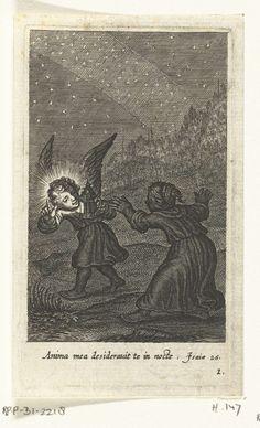 Kind vindt engel met lantaarn in het donker, Boëtius Adamsz. Bolswert, 1590 - 1624