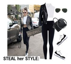 """""""Steal her style Kendall Jenner black and white street style."""" by misnik ❤ liked on Polyvore featuring Lauren Conrad, Kendall + Kylie, NIKE, Michael Kors, Alexander McQueen, Givenchy and Ray-Ban"""