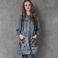 04367a922cace8 Bohemian Embroidered Vintage Denim Top Vintage Denim, Bohemian Tops, Denim  Coat, Outerwear Women