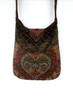 Tapestry Gypsy Bag Messenger Bag Bohemian Olive por piperscrossing