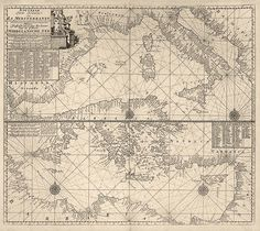 Antique nautical map of the Mediterranean from c1705