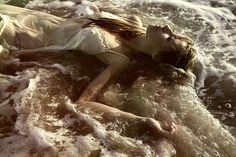 asleep, in, water, beach, lovely, sea