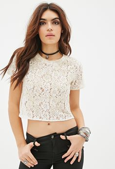 Beaded Lace Crop Top | FOREVER21 - 2000136118