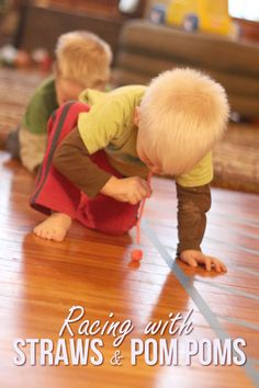 A quick racing activity with straws and pom poms