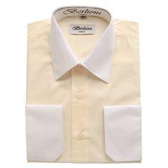 BERLIONI ITALY MEN'S DRESS SHIRT FRENCH CONVERTIBLE CUFF TWO TONE ...