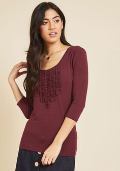 Chic Composition Ruffled Top in Wine. Each time you plan an outfit with this burgundy blouse, you treat it as if you were composing a concerto. #red #modcloth