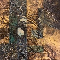 landscapes Collage with etching, pen and ink, watercolor and wax