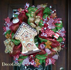 GINGERBREAD HOUSE CHRISTMAS Wreath on Green Mesh with by decoglitz