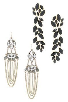 Crystal Leaf & Chandelier Earrings Set