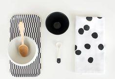black & white. tray - Nämä (coming to the web store) ceramic bowl: Caroline Gomez ceramic spoon- collaboration Marta Armada x Nämä (coming to the web store) tea towel: Depeapa nama.fi www.martaarmada.com