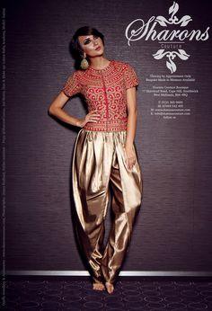 Sharons Couture. SATIN SOMASA SALWAR - THREADWORK JACKET TOP Indian Suits, Punjabi Suits, Salwar Suits, Indian Dresses, Indian Wear, Traditional Fashion, Traditional Outfits, Patiala, Salwar Kameez