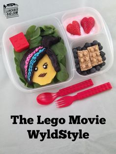 The Lego Movie Wyldstyle lunch for my daughter today. See the full recipe on my blog! #LegoMovie #Wyldstyle #Legos #kidsrecipes #Legorecipes
