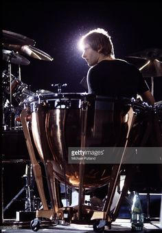 Carl Palmer of Emerson Lake and Palmer, performs on stage, 1977.