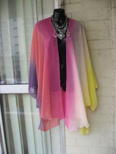 3DAYSALE..Vintage Stunning Sheer Ombre Rainbow  by GlamourZoya, $169.00