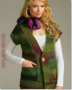 Woman Knit Vest 2020 – How do you wash knits in the washing machine – Sayfa 33 – Woman Style Crochet Waistcoat, Sirdar Knitting Patterns, Knitting Blogs, Knitting Projects, Knit Vest Pattern, Sweater Patterns, Knit Or Crochet, Madame, Ponchos
