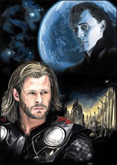 This is an artwork about the movie 'Thor'. I wanted to illustrate the rift between Thor and his brother Loki. I used colored pencil (Polychromos) and. Thor - The Rift Loki Art, Thor X Loki, Avengers Art, Marvel Dc, Marvel Comics, Star Trek, Avengers Outfits, Dc Memes, Tom Hiddleston Loki