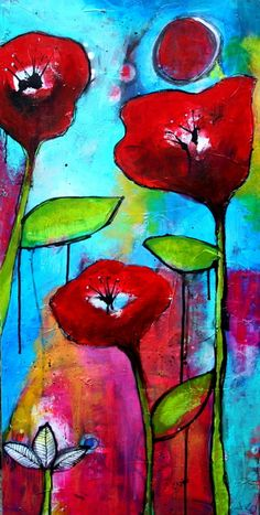 3 Poppies Large  format Lush Textured Acrylic Painting by Jodi Ohl  Flowers Expression Blue Green and Red. $345.00, via Etsy.