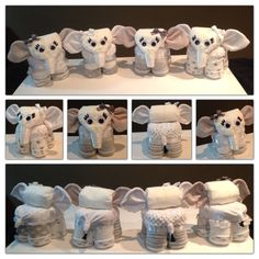 Elephant diaper cake in a grey and white gender neutral theme. All diapers, socks and washcloths are 100% useable upon disassembly. This is not a novelty item, but can be put to practical use if desired. Of course the recipient might like it so much they might not ever want to take it apart! Tutorials coming soon. Follow this board for updates! Like my page on Facebook if you like my diaper animal designs. www.facebook.com/vivadiapercakes