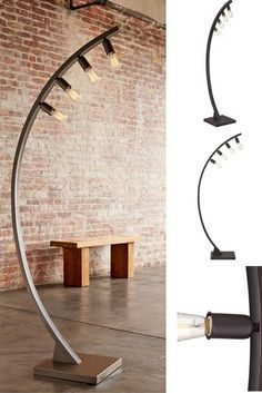 A retro industrial look defines this bronze finished floor lamp that includes four vintage style Edison bulbs.